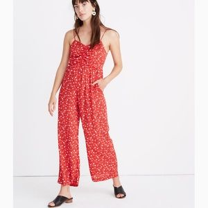 Madewell Red Floral Paisley Wide Leg Jumpsuit 2